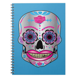 Blue Rose Candy Skull Notebook
