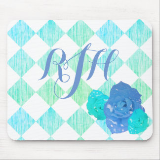 Blue Rose Checkered Monogram Mouse Pad