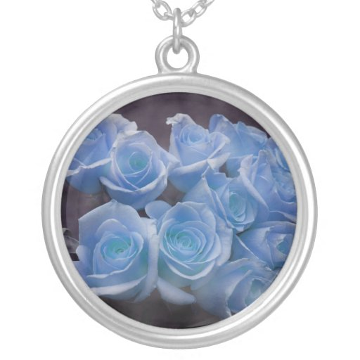 Blue Rose colorized bouquet spotted background Custom Necklace