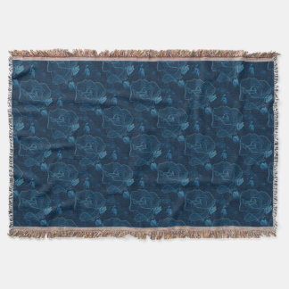 blue rose contour throw blanket