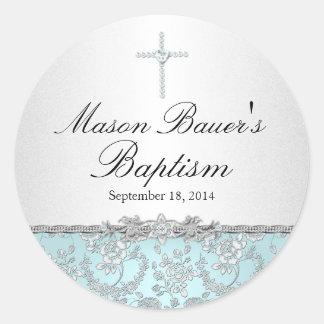 Blue Rose & Cross Baptism Sticker