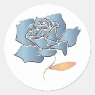 Blue Rose -editable background Round Sticker