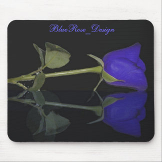 Blue Rose Floral Pattern Mouse Pad