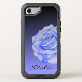 Blue Rose Flower Ombre Black Personalized OtterBox Defender iPhone 8/7 Case