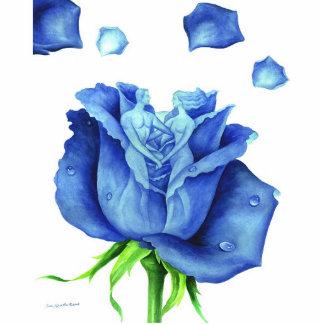 Blue Rose Flower Painting Art Man Woman Figure Standing Photo Sculpture