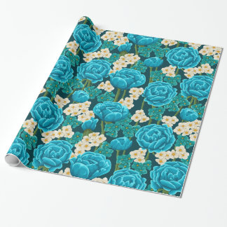 Blue rose flower retro vintage illustrated pattern wrapping paper