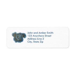Blue Rose Flower Return Address Labels