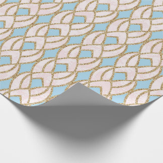 Blue Rose Gold Glitter Baroque Antonietta Glam Wrapping Paper