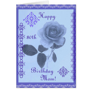 Blue rose: Happy Birthday Mom! Card