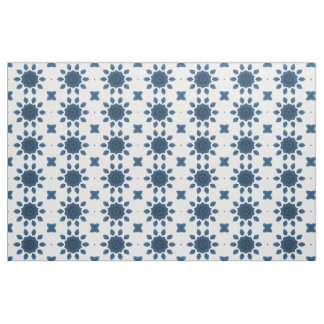 Blue Rose Kaleidoscope Pattern on White Fabric