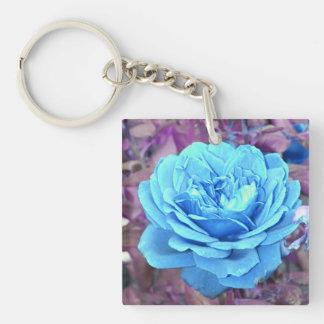 Blue rose key ring