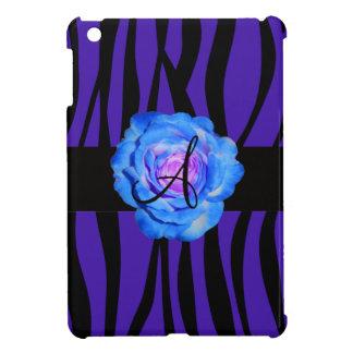 Blue rose monogram purple zebra stripes pattern iPad mini cover