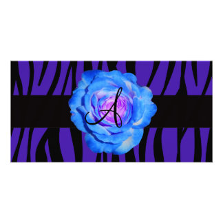 Blue rose monogram purple zebra stripes pattern photo cards