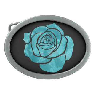 Blue Rose on Black Belt Buckles