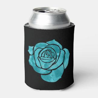 Blue Rose on Black Can Cooler