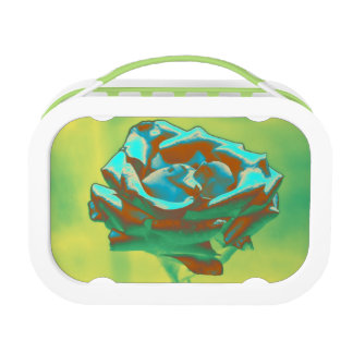 Blue Rose on Green Lunch Box
