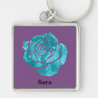Blue Rose on Purple Key Ring