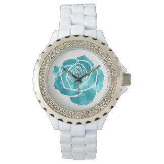 Blue Rose on White Watch
