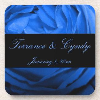 Blue Rose Personal Wedding Beverage Coasters