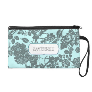 Blue Rose personalized Clutch bridesmaid gift Wristlets