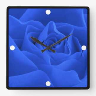Blue Rose Petals Framed Custom Square Wall Clock