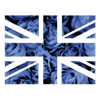 Blue Rose Union Jack British(UK) Flag Postcard
