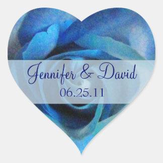 Blue Rose Wedding Envelope Seals Heart Stickers