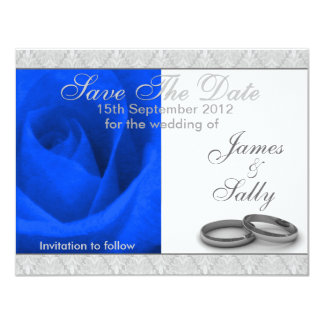Blue Rose & Wedding Rings Save The Date Card