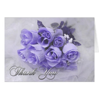 Blue Roses Bouquet Thank You Note Card