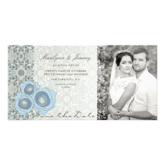 Blue Roses & Damask Lace Save The Date Photo Card