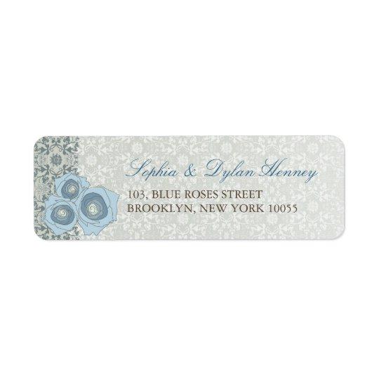 Blue Roses Damask Lace Wedding Address Labels