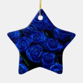 Blue Roses Ceramic Star Ornament