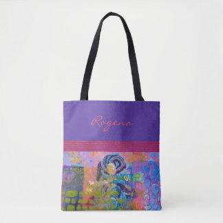 Blue Roses - Purple & Pink - Handbag / Tote