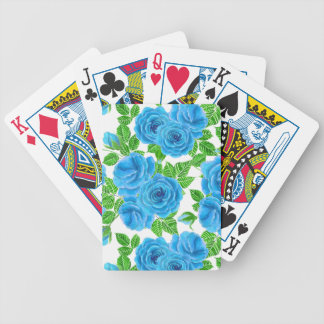 Blue roses watercolor seamless pattern bicycle playing cards