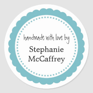 Blue rosette handmade custom label party favour round sticker