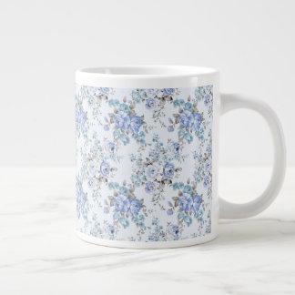 Blue Rosy Flower Pattern Jumbo Mug
