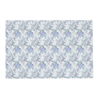 Blue Rosy Flower Pattern Laminated Placemat