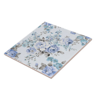Blue Rosy Flower Pattern Large Ceramic Photo Tile