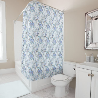 Blue Rosy Flower Pattern Shower Curtain