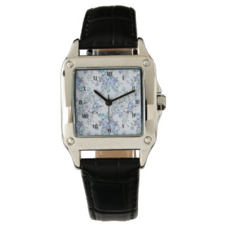 Blue Rosy Flower Pattern Square Watch