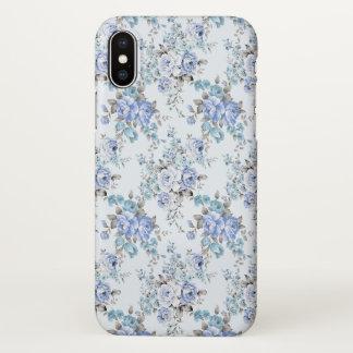 Blue Rosy Flower Pattern Zazzle iPhone X Case