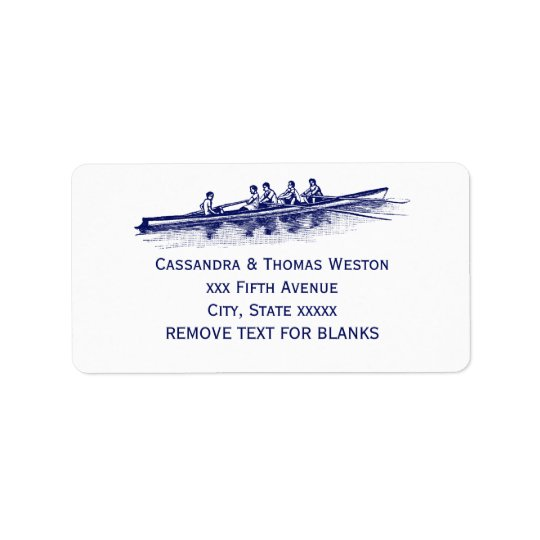 Blue Rowing Rowers Crew Team Water Sports Label