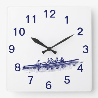 Blue Rowing Rowers Crew Team Water Sports Square Wall Clock