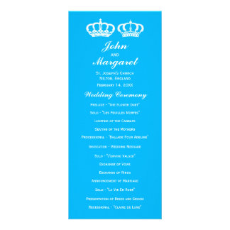 Blue Royal Couple Wedding Program 10 Cm X 23 Cm Rack Card