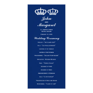 Blue Royal Couple Wedding Program Customized Rack Card