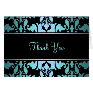 Blue Royal Damask Thank You Card