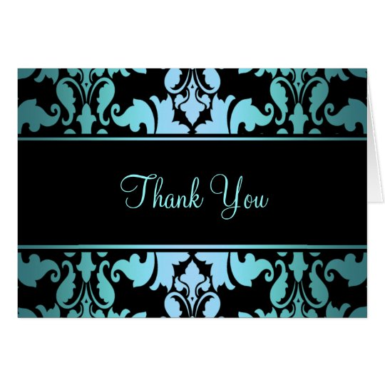 Blue Royal Damask Thank You Card