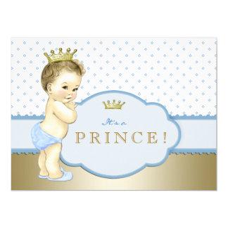 Blue Royal Prince Baby Shower 17 Cm X 22 Cm Invitation Card