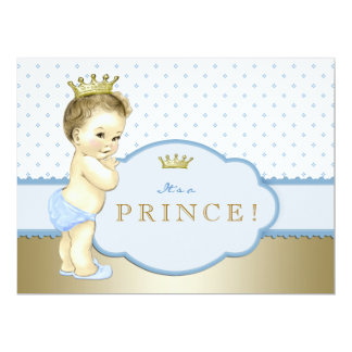 Blue Royal Prince Baby Shower Personalized Invitations