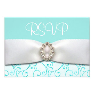 Blue RSVP Wedding Cards Custom Announcements